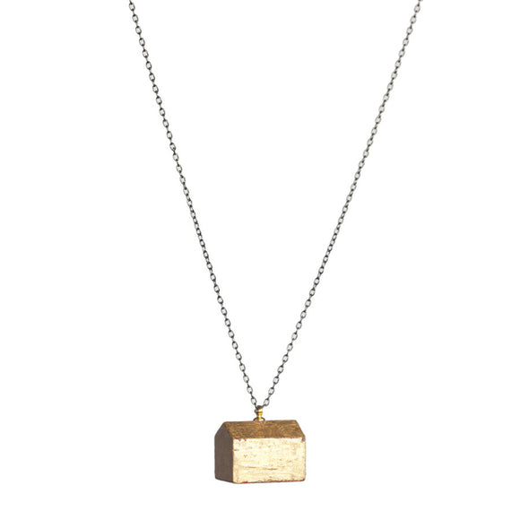 Gold-leafed hotel long pendant - Amy Jewelry
