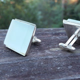Photo of aqua glass tile silver-plated cuff links 3/4 view