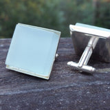 Photo of aqua glass tile silver-plated cuff links