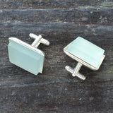 Photo of aqua glass tile silver-plated cuff links from above