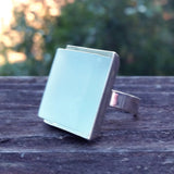 Photo of aqua glass tile silver-plated adjustable ring, 3/4 view