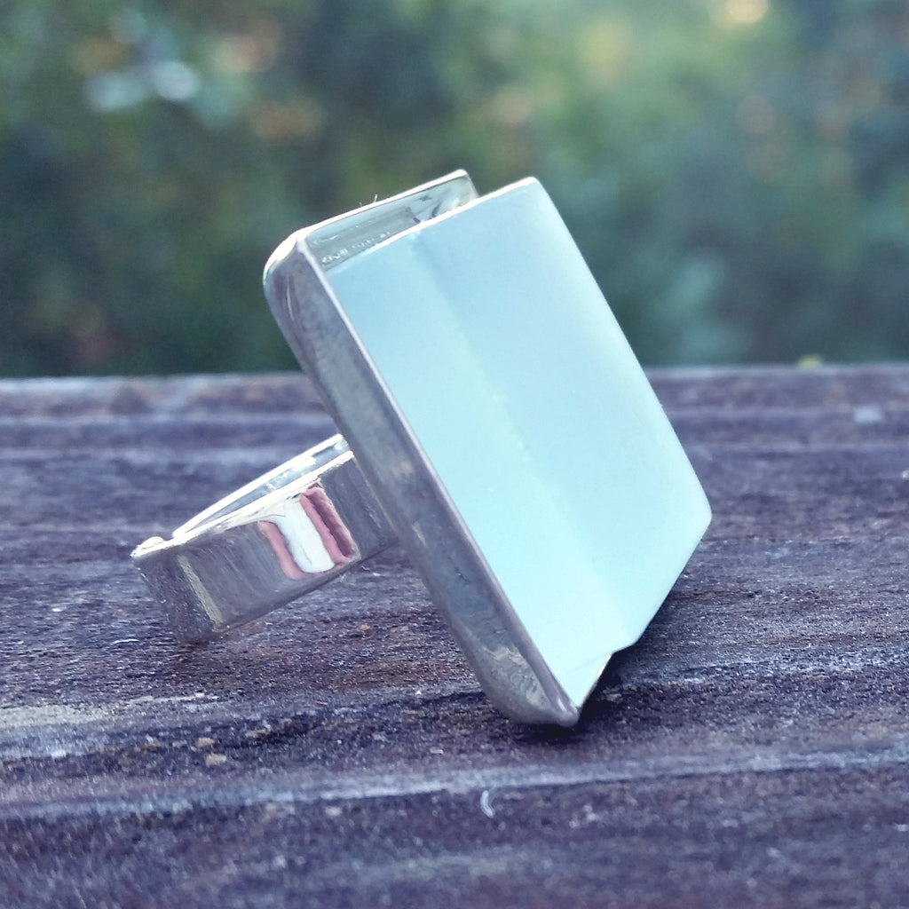 Photo of aqua glass tile silver-plated adjustable ring from side