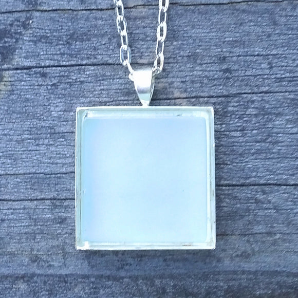 Aqua glass tile silver-plated pendant - Amy Jewelry  - 1