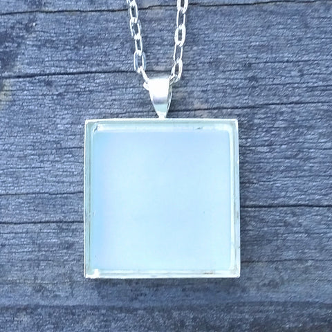 Aqua glass tile silver-plated pendant