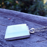 Aqua glass tile silver-plated pendant - Amy Jewelry  - 2