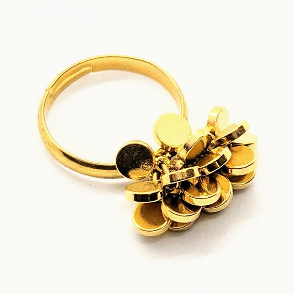 Gold disc cluster ring