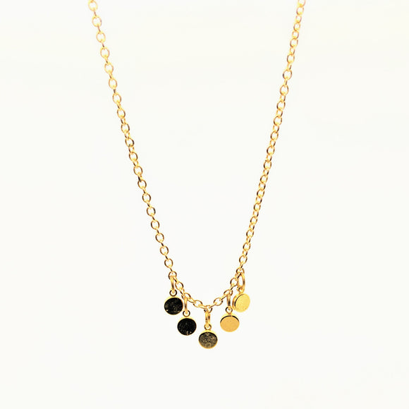 Gold disc spaced necklace