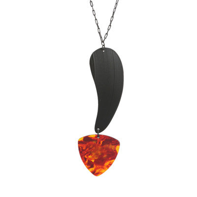 Guitar pick and record vertical pendant - Amy Jewelry