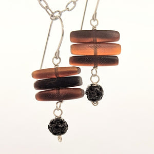 Horn and carved bead earrings
