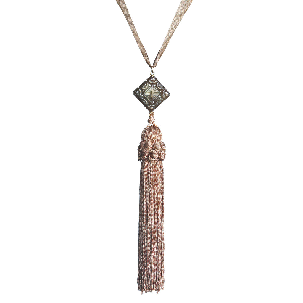 Carved square jade and vintage tassel pendant necklace - Amy Jewelry
