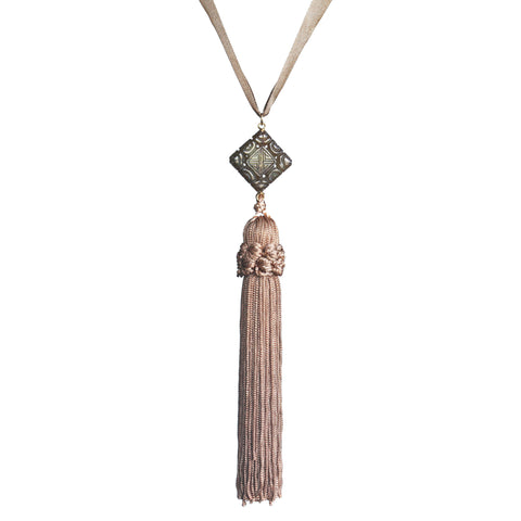 Carved square jade and vintage tassel pendant necklace