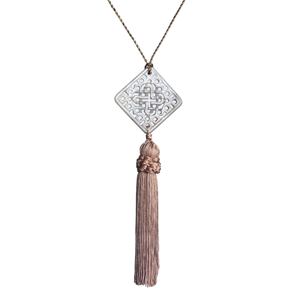 Carved square jade and vintage tassel pendant necklace on gold cord - Amy Jewelry