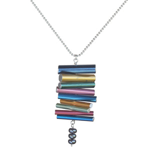 Knitting needle stacked pendant with pearls on silver-plated ball chain - Amy Jewelry