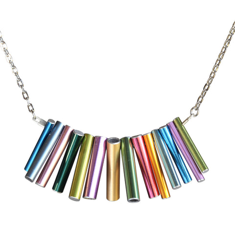 Knitting needle large stacked necklace