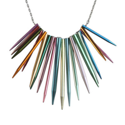 Pointed knitting needle necklace on steel chain - Amy Jewelry