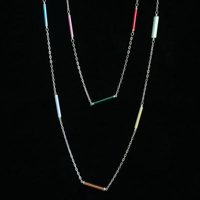 spaced knitting needle necklace - Amy Jewelry