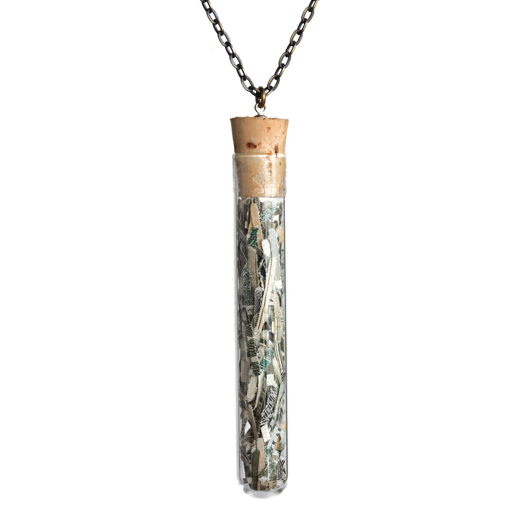 Large shredded money test tube pendant - Amy Jewelry