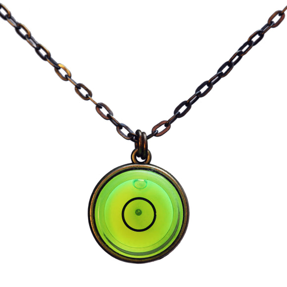 Large bullseye level necklace with brass chain - Amy Jewelry