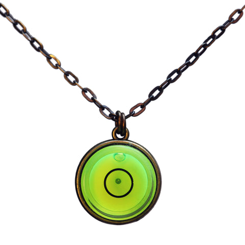 Large bullseye level necklace with brass chain