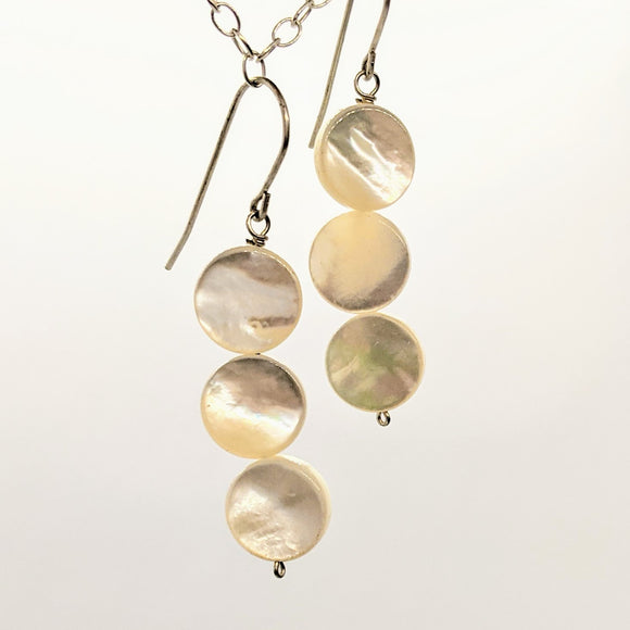 Large mother of pearl circle earrings