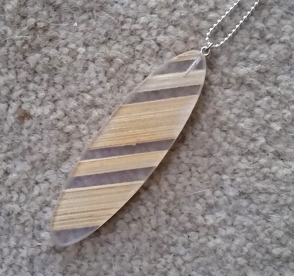 Large recycled plastic bamboo pendant - Amy Jewelry