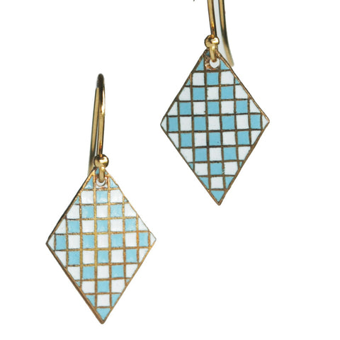 Military shield blue diamond earrings