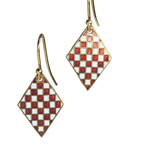 Military shield red diamond earrings