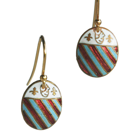 Oval military shield earrings