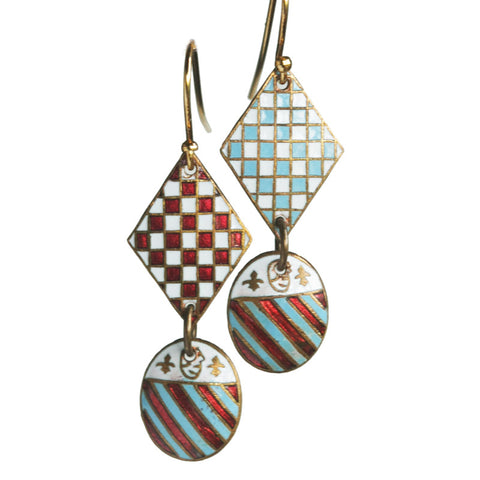 Double-drop military shield earrings