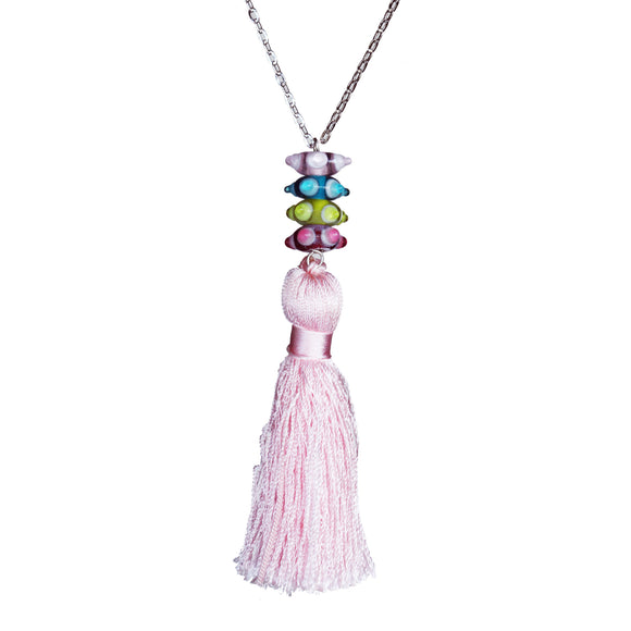Glass bead and vintage tassel necklace on steel chain - Amy Jewelry