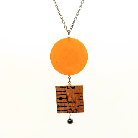 Poker chip-ruler-onyx pendant necklace