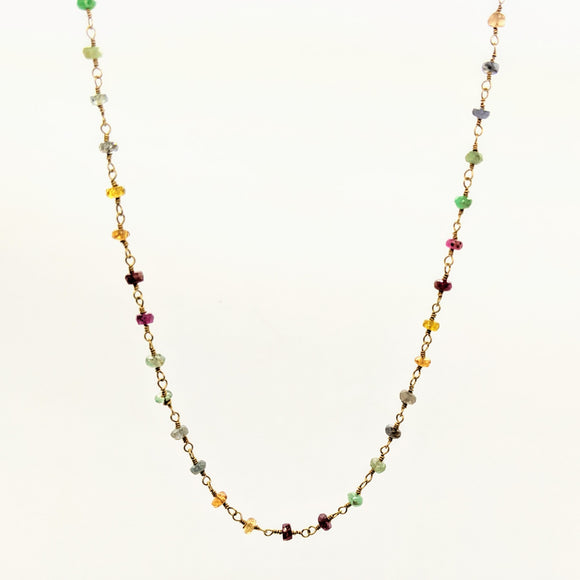 Faceted gemstone rosary chain necklace