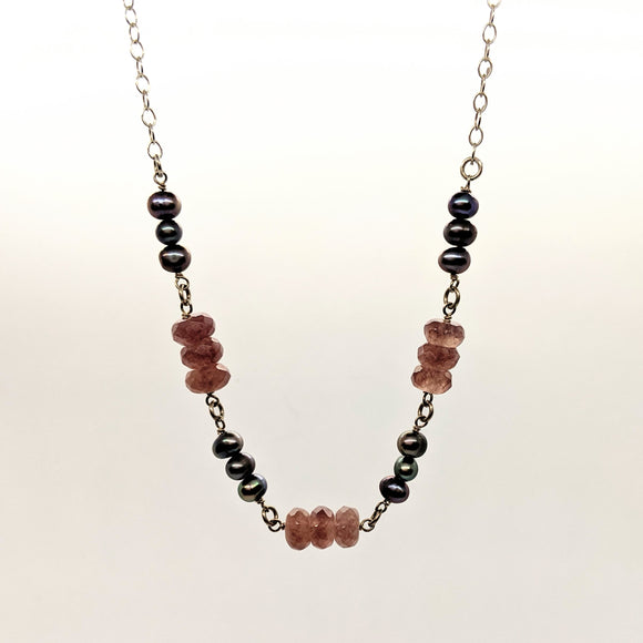 Pearl and purple faceted stone bead necklace