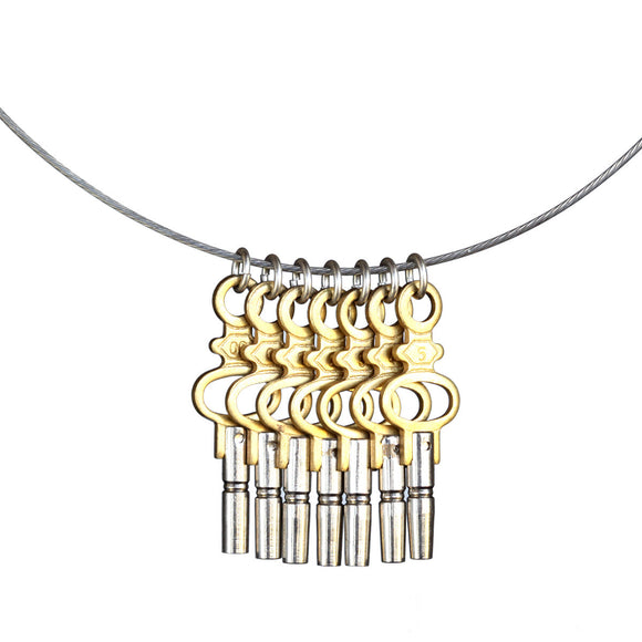 Seven-key pendant on steel cable - Amy Jewelry