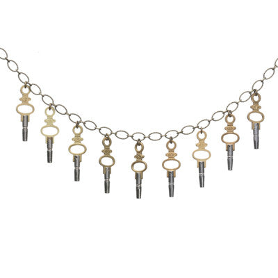 Pocket watch key charm necklace on brass chain