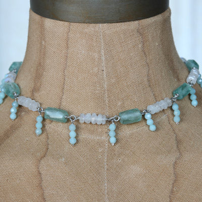 Aqua recycled glass and gemstone necklace