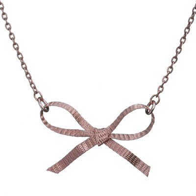 Copper bow necklace