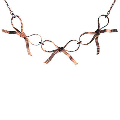 Copper bow triple necklace - Amy Jewelry