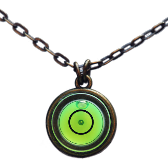 Small bullseye level necklace with brass chain - Amy Jewelry