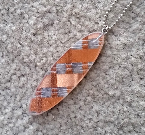 Small recycled plastic woven copper pendant