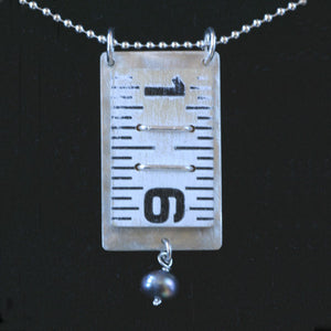 Wooden ruler pendant with pearl drop - Amy Jewelry