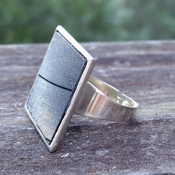 Salvaged record adjustable square ring