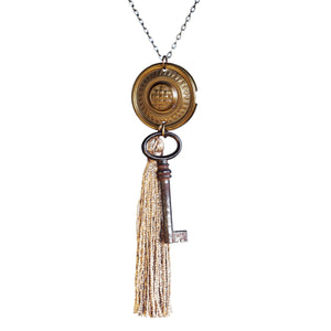 Drawer pull, tassel and key necklace - Amy Jewelry