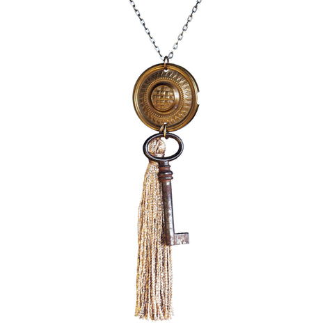 Drawer pull, tassel and key necklace