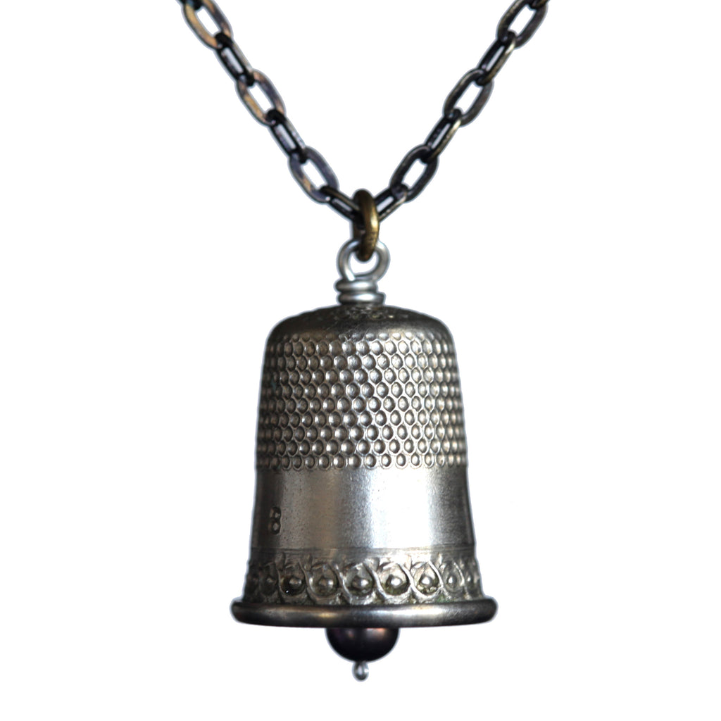 Salvaged thimble pendant on brass patina chain - Amy Jewelry