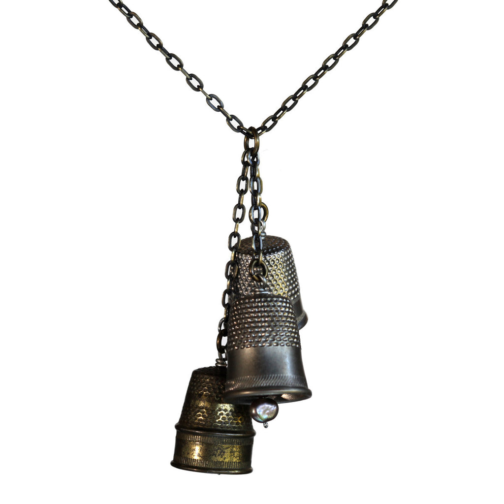 Salvaged thimble cluster necklace on brass patina chain - Amy Jewelry