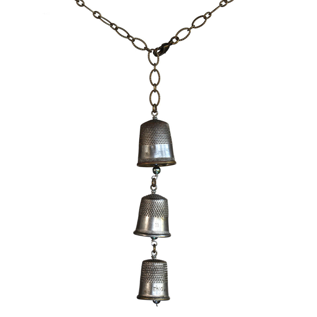 Salvaged thimble vertical Y necklace on brass patina chain - Amy Jewelry