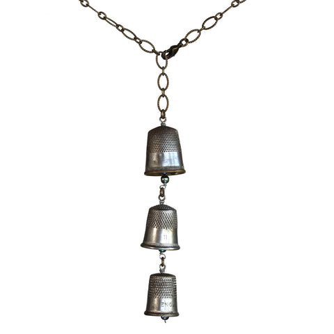 Salvaged thimble vertical Y necklace on brass patina chain