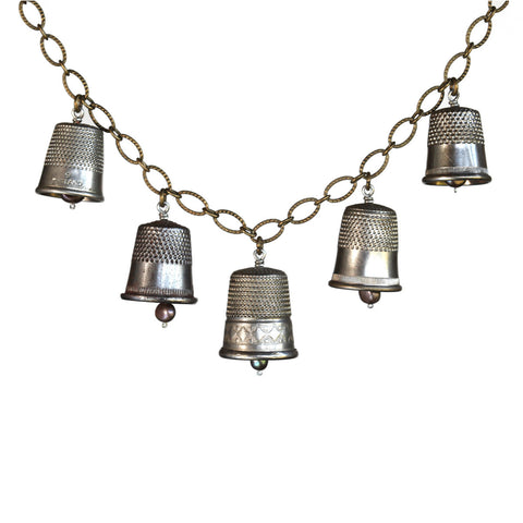 Five-piece vintage thimble necklace