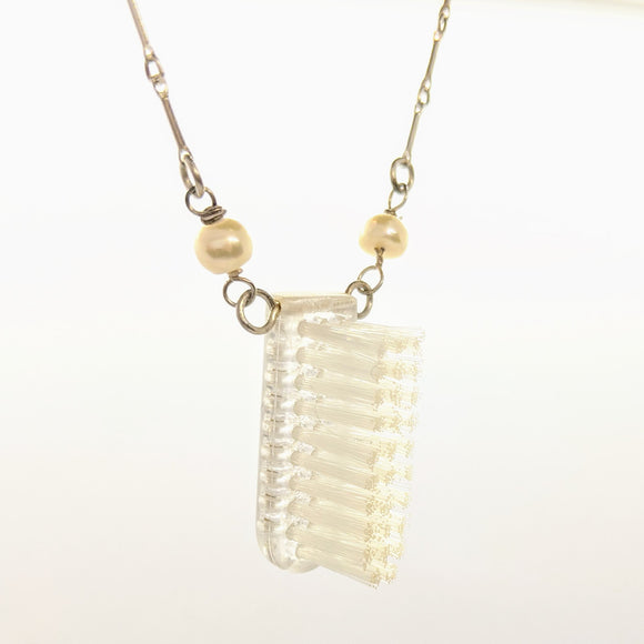 Clear toothbrush head necklace